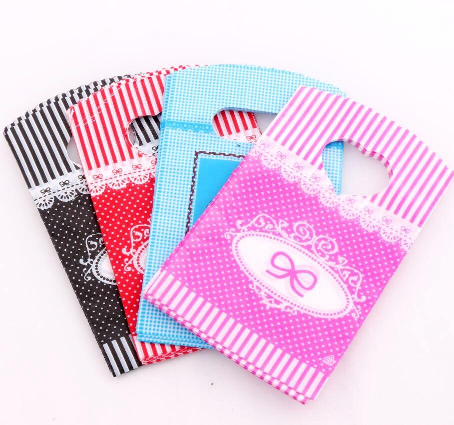 100 Uds Hot 4 colores Bow Dots tiras bolsas de plástico bolsa de regalo 9X15cm bolsas de joyería GB070