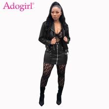 Adogirl femmes PU cuir deux pièces ensemble robe col rabattu court Biker veste + fermeture éclair moulante Mini jupe Sexy Club tenues