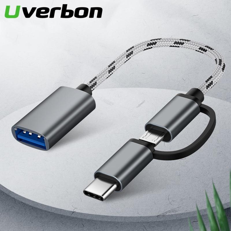 2 em 1 usb 3.0 otg cabo náilon trança micro usb tipo c sincronização de dados adaptador de carga para samsung um mais macbook usbc tipo-c otg