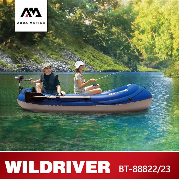 Barco de remo inflable para pesca con Motor de PVC para 2 personas de la marca AQUA MARINA WILDRIVER