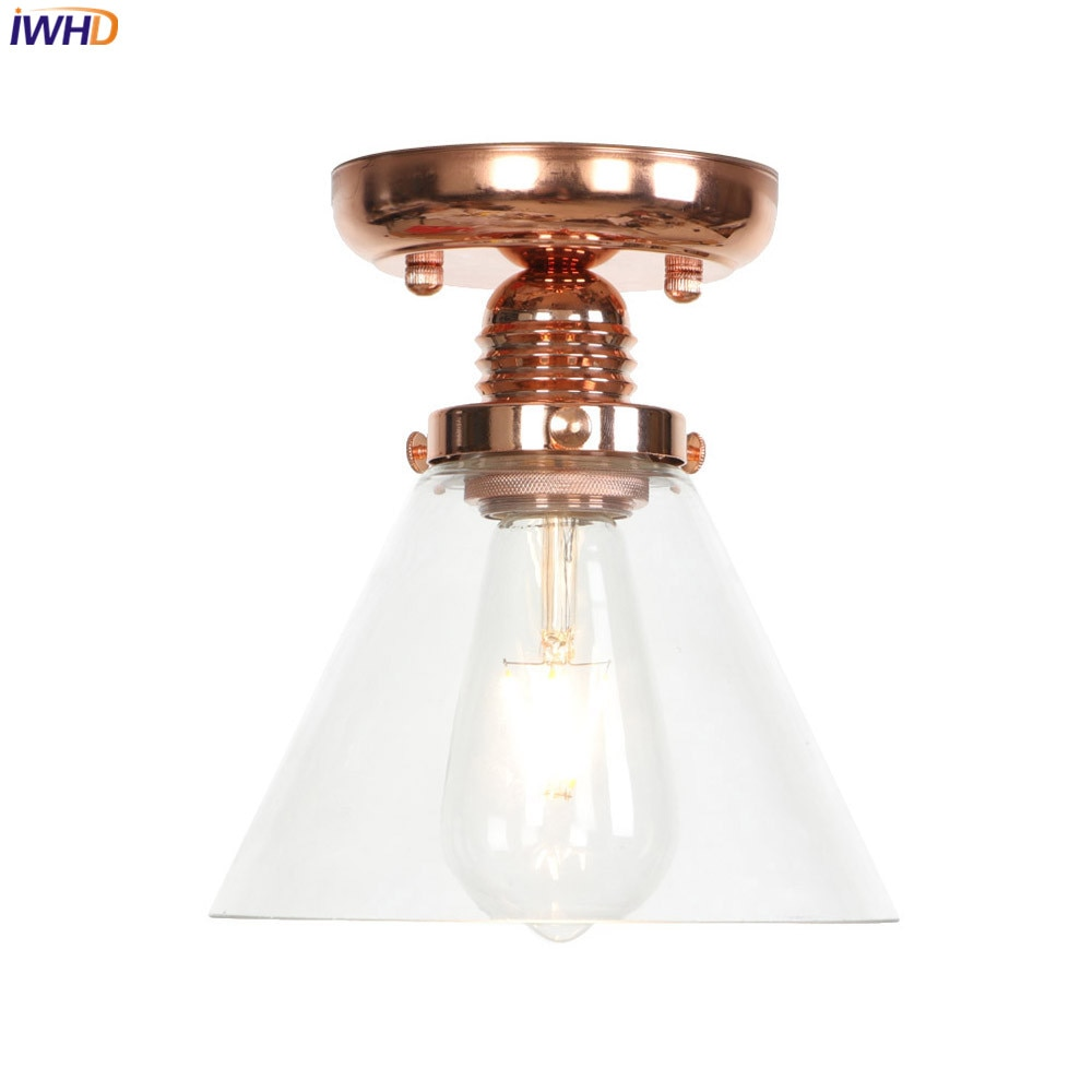 IWHD Glass LED Ceiling Lights LED Vintage Nordic Ceiling Lamp Industrial Living Room Light Fixture Home Lighting Lampara Techo iwhd colorful nordic modern led ceiling light fixtures porch corridor bedroom round glass ball ceiling lamp plafonnier lighting