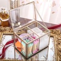 Makeup Organizer Storage Box Retro Glass Non-acrylic Cotton Pad Storage Box Transparent Dressing Table Desktop Storage Swab