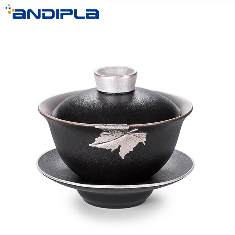 Cerámica negra y gruesa Zen 185cc, dorada, plata, Boutique Gaiwan, incrustado, hoja de arce, juego de té Kung Fu, taza maestra de tetera, tazón con tapa