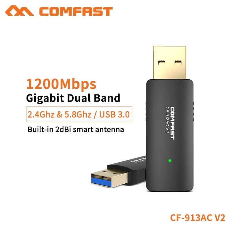 COMFAST adaptador Wifi 1200Mbps Usb3.0 Mini y portátil 2,4G + 5,8G inalámbrico receptor Wifi para PC portátil Windows XP 7 8 10 CF-913ACV2