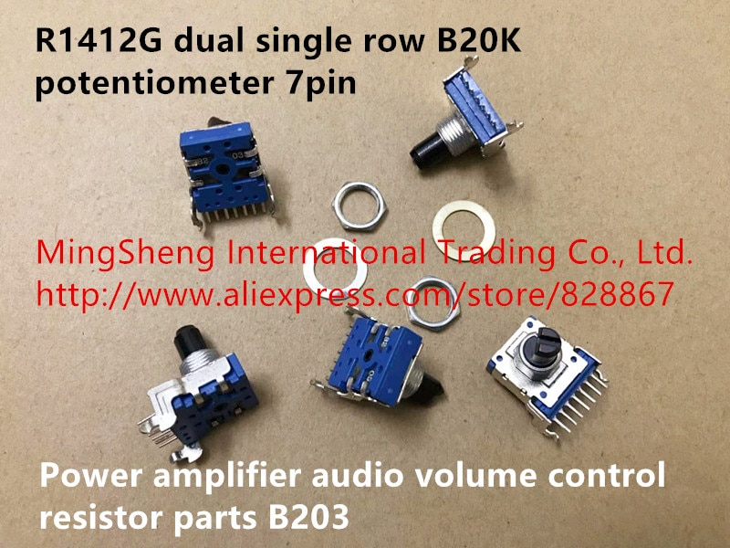 Original nuevo 100% R1412G doble fila única 7pin potenciómetro B20K amplificador de potencia de volumen de audio resistor de control a B203 interruptor