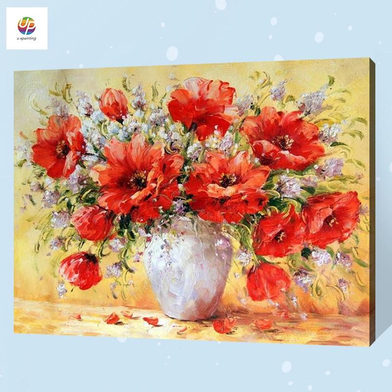 Pintura Digital sin marco por número florero de amapola pájaro pintura acrílica cuadro sobre lienzo para pared moderno abstracto para decoración del hogar