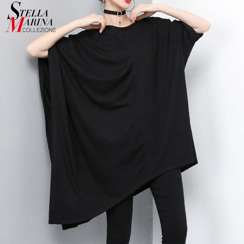 Nuevo 2019 estilo coreano mujeres sólido negro Hipster Tops largos talla grande mujer Irregular camiseta Casual camiseta Mujer 9012