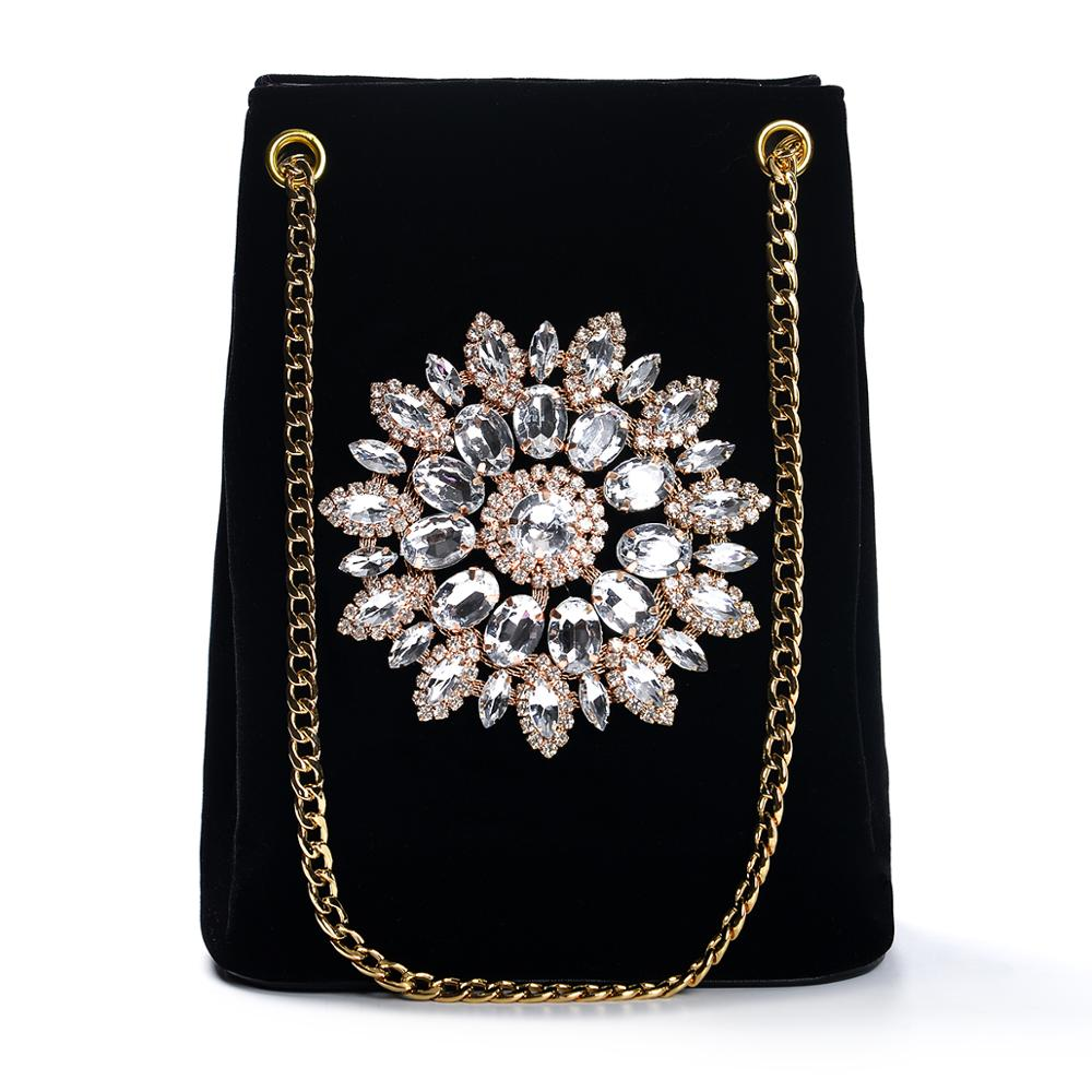 black Corduroy Rhinestone shoulder bag flower party clutch bag evening bag