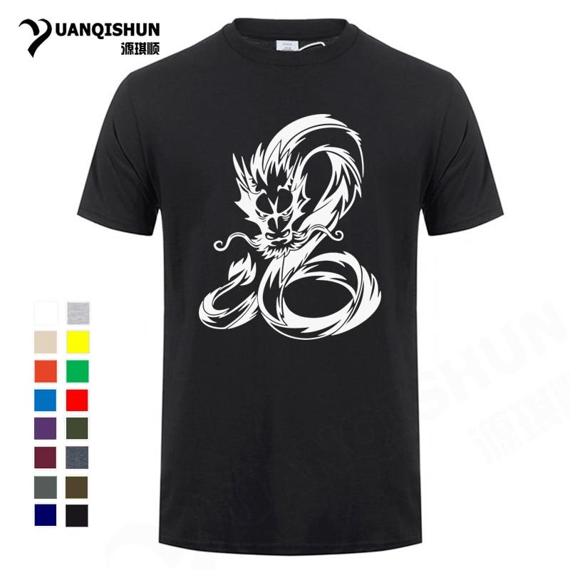 Boutique de camisetas de moda de 16 colores dragón chino circular, divertidas camisetas para hombre, cuello redondo, camisetas de manga corta, Camiseta de algodón puro
