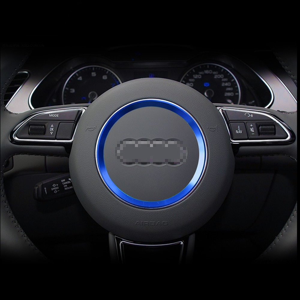 LOGOTIPO PARA volante de coche, insignia del centro, pegatinas decorativas para Audi A4 B6 B8 B9 A6 C5 A3 A5 Q5 Q7 S3 S4 TT Accesorios