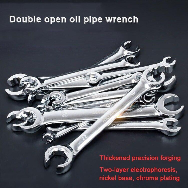 Llave de extremo abierto métrica de doble cabeza wrenchs llaves de Metal especiales de seis ángulos para tubos de tubo de aceite herramientas de reparación automática