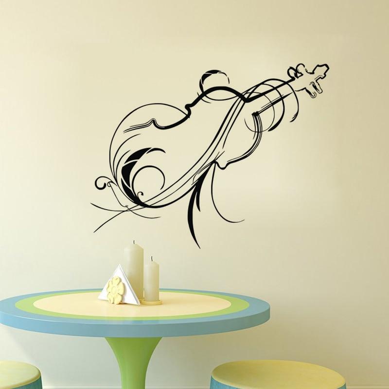 Pegatinas florales de violín para pared, decoración del hogar, calcomanías de pared musicales, pegatina de vinilo, papel tapiz autoadhesivo