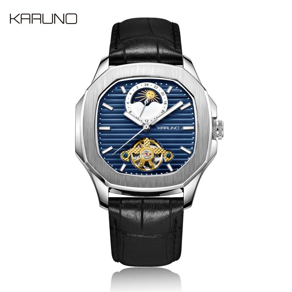 كارونو رجل ساعة ميكانيكية ساعة للرجال موضة ساعة أوتوماتيكية الرجال القمر المرحلة ساحة ساعات جلد توربيون ساعة اليد