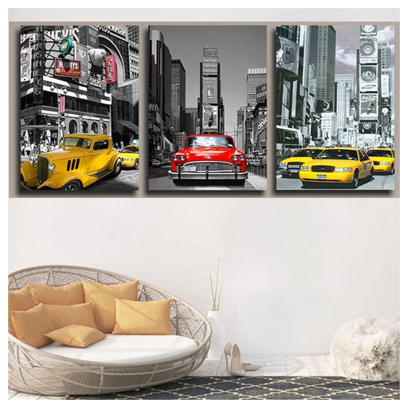 5d DIY square/round Diamond Painting New york/london Taxi Car Full rhinestones 5D Mosaic diamond embroidery art Landscape 3pcs