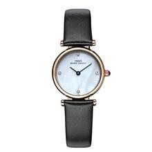 IBSO Fashion Diamond Womens Watches Genuine Leather Band MOP Dial Quartz Wrist Watches B2201L