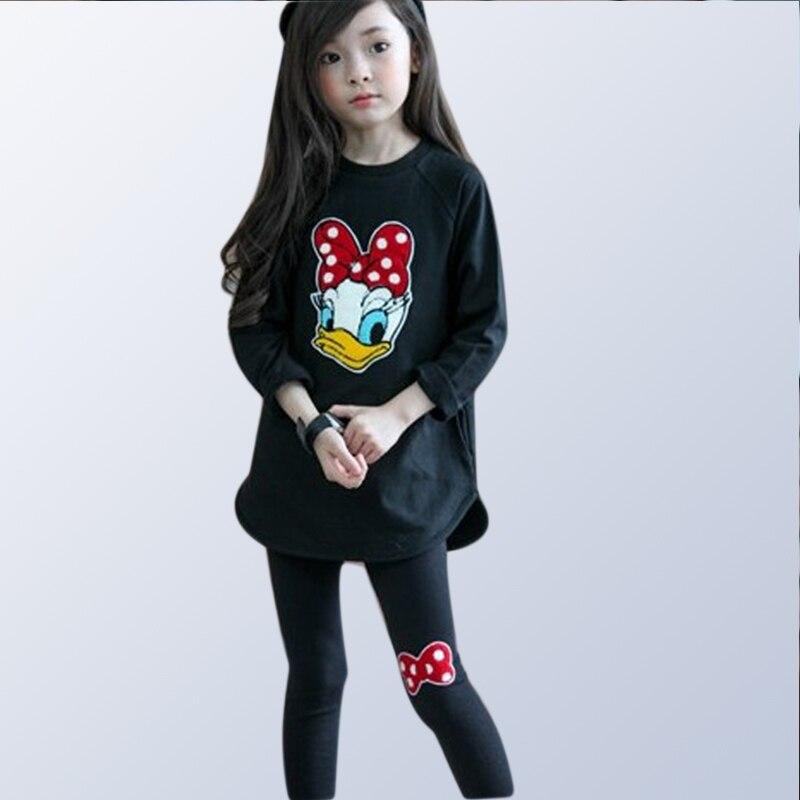 Los niños ropa de Otoño de las niñas trajes de ropa para niños de dibujos animados deportes conjunto niñas Algodón puro tops + Pantalones 2 uds para 3 5 7 8 10 años