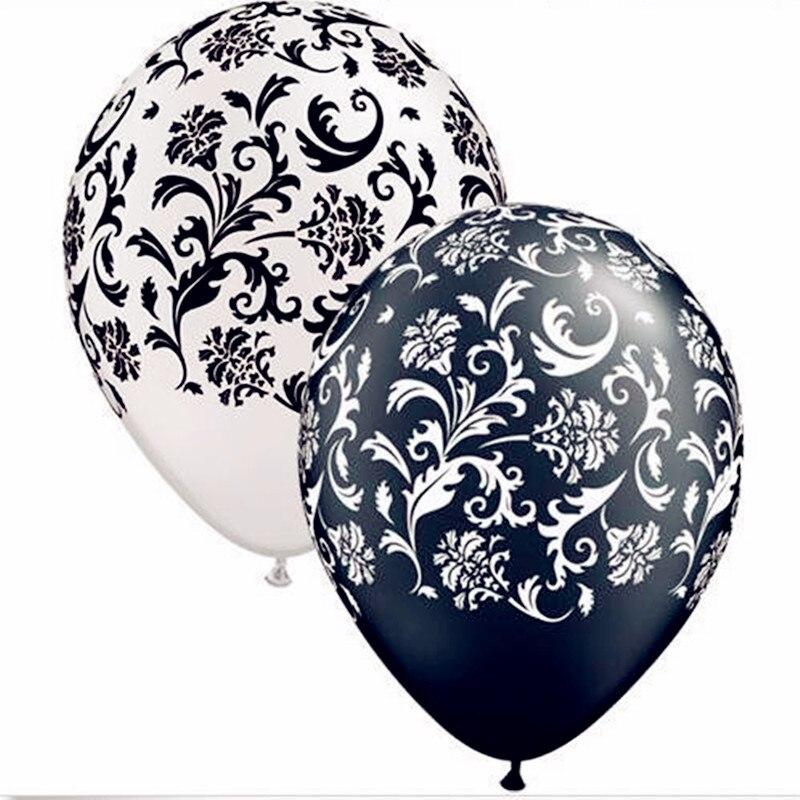 "40pcs/lot Damask Print Black & White 12"" Qualatex Latex Balloons Birthday Wedding party Decoration Latex balloons Anniversary"
