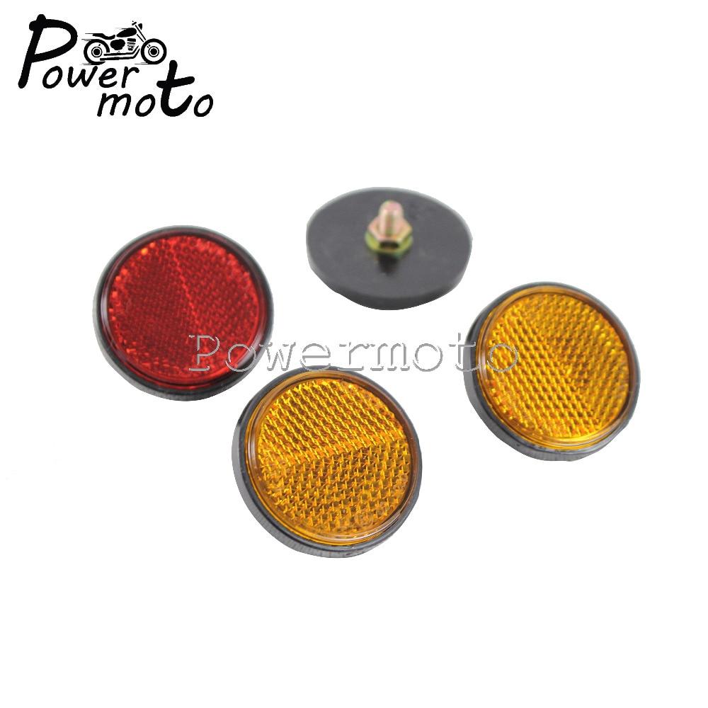2 uds 4,5 CM motocicleta redonda rojo amarillo Reflector seguridad advertencia Bolt-On lámina reflectiva Universal para bicicletas ATV Dirt Bikes