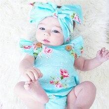 Fashion Floral Newborn Baby Kids Girls Bodysuit Cotton Backless sleeveless Sunsuit Clothes Headband 2PC set