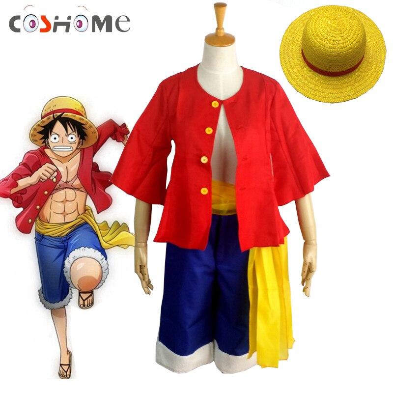 Coshome One piece Affe D. Luffy Cosplay Kostüme Hemd Hosen Perücken Schuhe Sommer Kleidung Set Für Halloween Party Weihnachten