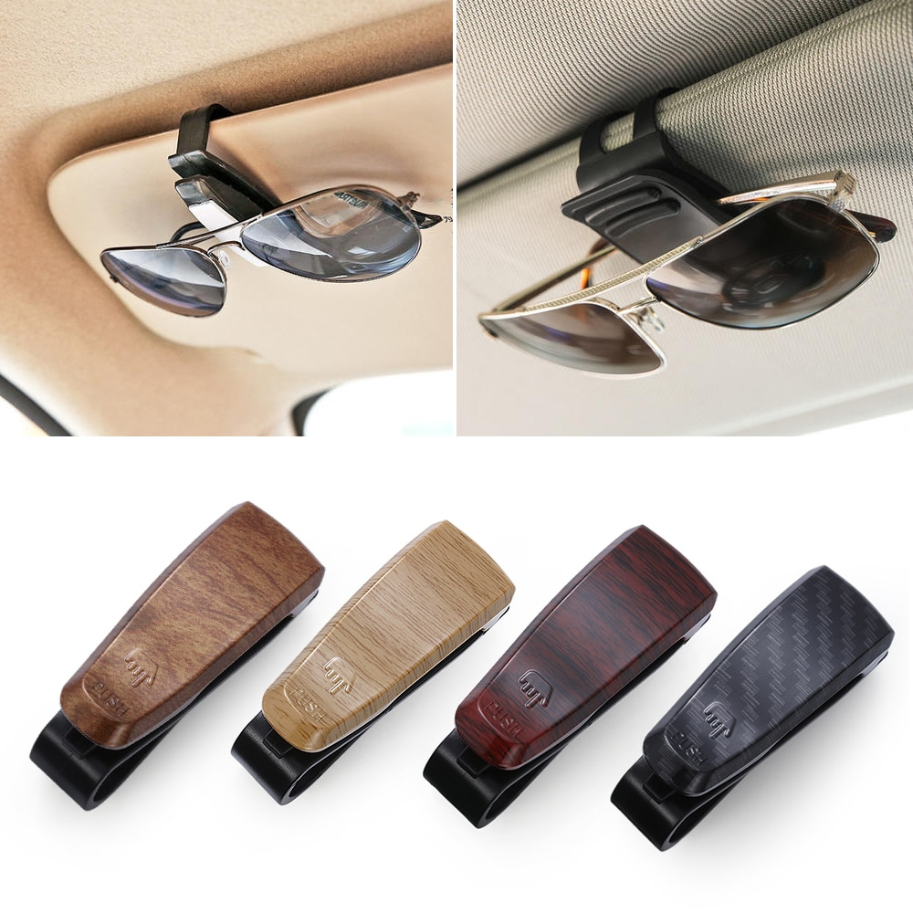 1 шт. Чехол для очков с деревянным лицевым покрытием Atuo, автомобильные аксессуары, ABS солнцезащитные очки, держатель для очков, авто крепеж, зажим для билета