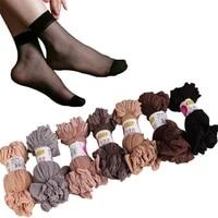 20pairslot summer sexy ultrathin crystal silk socks for women high elastic black transparent nylon socks female