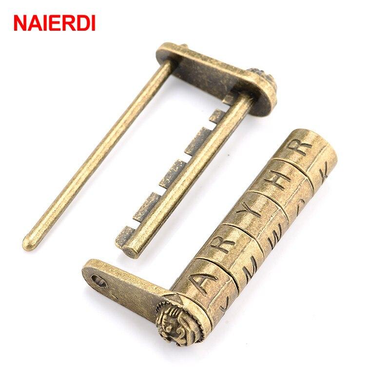 Cerradura de combinación NAIERDI antigua de bronce Retro con 5 letras de aleación de Zinc, candado con contraseña para joyero, para cajón de maleta de madera