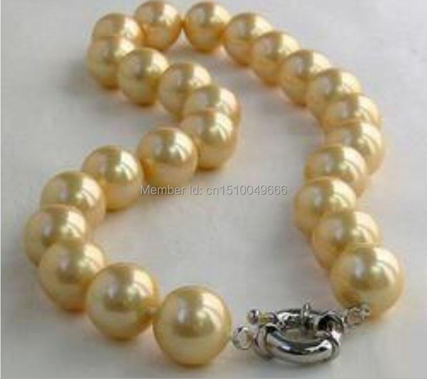 "Envío libre> 10mm amarillo natural Mar del Sur Shell perla collar 18"""