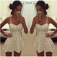 2015 Sexy Women Summer Strap Sleeveless Polka Dot Club Cocktail Mini Dress
