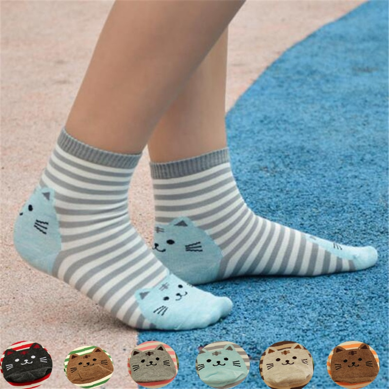 Hot sale! women cartoon socks autumn colorful patterned kawaii lady and womens winter cotton striped funny animal