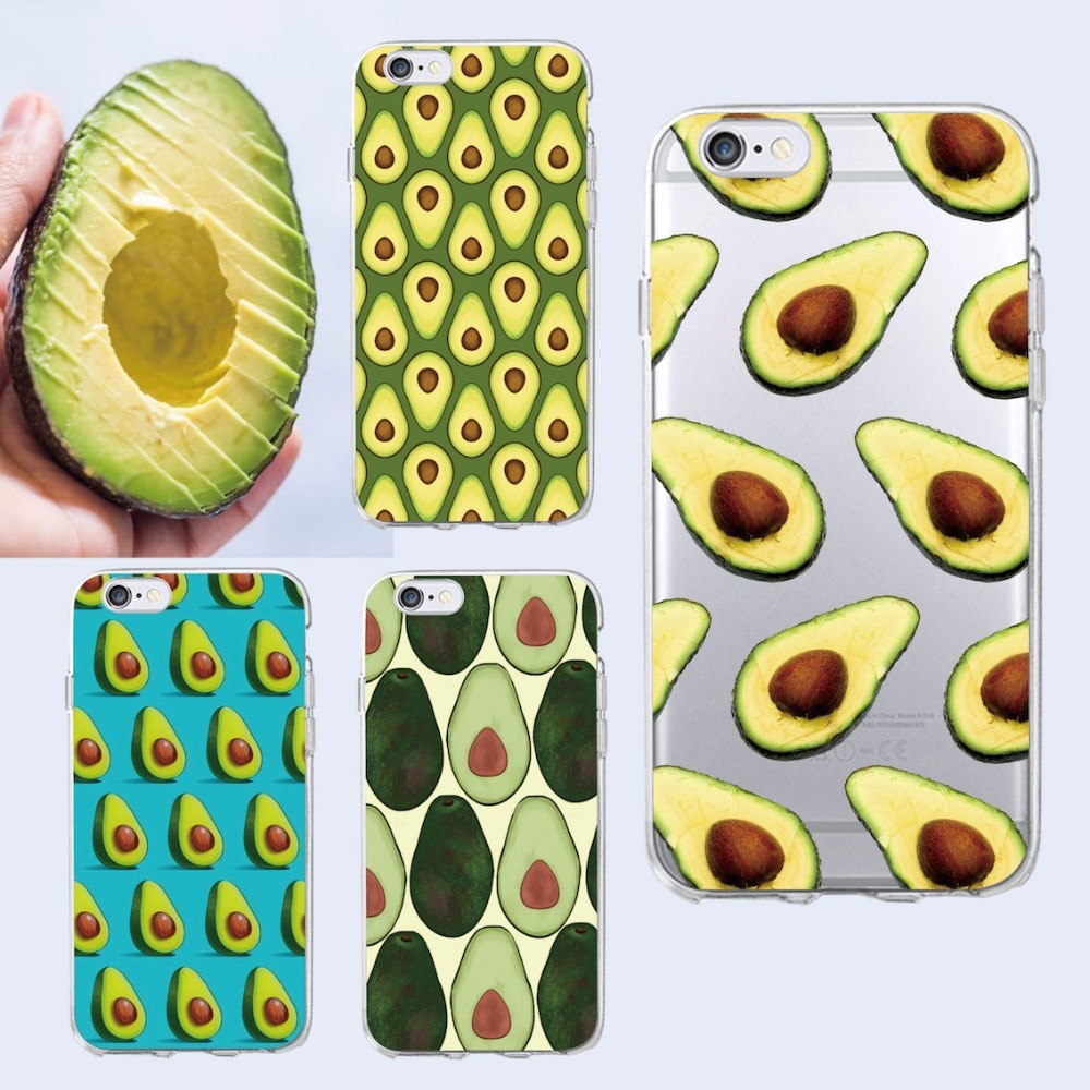 Bonita funda para teléfono con diseño de comida de aguacate, funda Coque para iPhone 11 Pro Max 6 6S 6plus 7 7Plus 8 8 Plus X XS Max