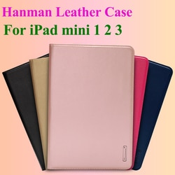 Hanman Flip Caso De Couro para o iPad mini 1 2 3 Negócios Genuine Slot Para Cartão de Carteira de Couro Da Tampa Do Caso