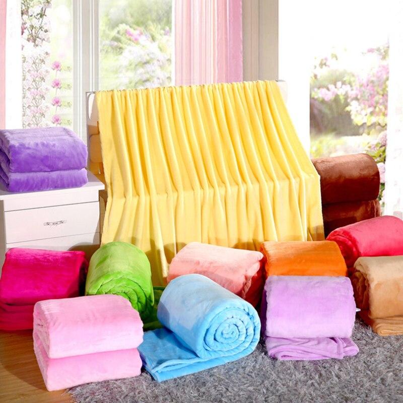 Manta suave de franela de microfelpa con forro polar doble/completa/Queen/King Size cama/sofá/cubierta de aire Color topo claro marrón Camel sólido