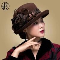 fs vintage black wool cloche hats wide brim fedora hat for women flower red brown felt winter bowler cap chapeau feutre femme