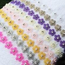 Accessoires de mariage avec clips pour fête   ABS, dos plat, décoration de fête, strass, robe fine, accessoire lace -D56 de 10 mètres