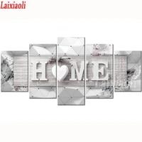 Peinture diamant theme  maison douce   perceuse carree ou ronde  bricolage  combinaison multi-image  broderie 5D  decor mosaique  5 pieces