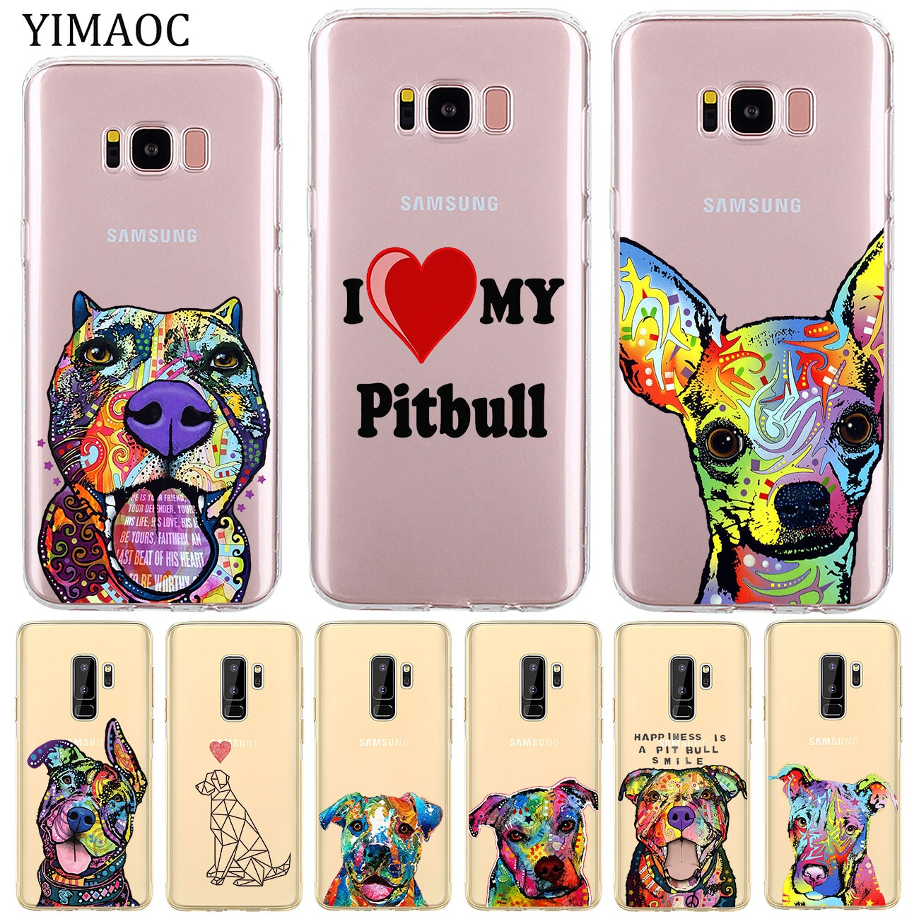 YIMAOC Pitbull dog Soft Silicone Phone Shell Case for Samsung Galaxy S10e S10 S9 S8 Note 10 Plus S7