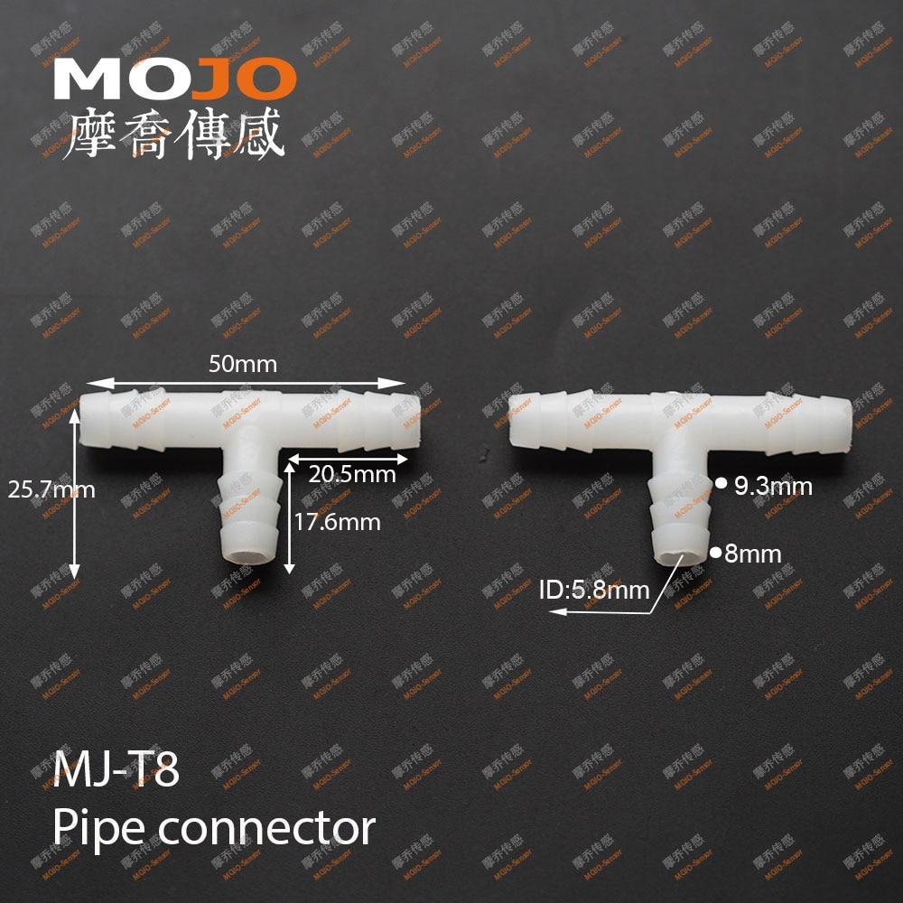 2020 (1000 unids/lote) MJ-T8 PE conectores tubería T 8mm tres manguera de instalación de tubería conjunta