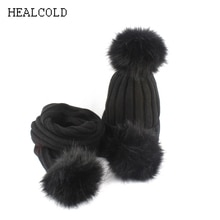 HEALCOLD Boys Girls Hat Scarf Set Kids Fur Pompom Beanies Scarf Winter Scarf Hat For Children
