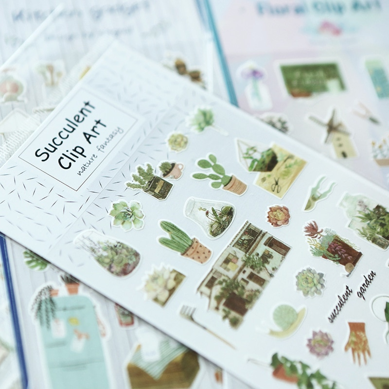 Warm Homeland Succulent Plant Cactus Art Stickers Adhesive Stickers DIY Decoration Stickers