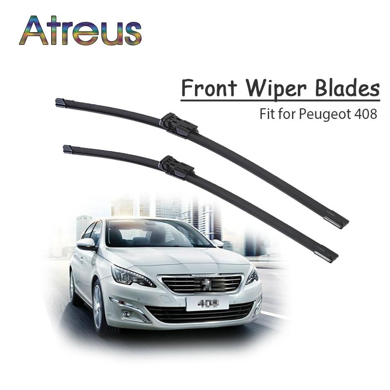 Atreus 2 uds de alta calidad, larga vida de frente limpiaparabrisas para Peugeot 408, 2011, 2012, 2013, 2014