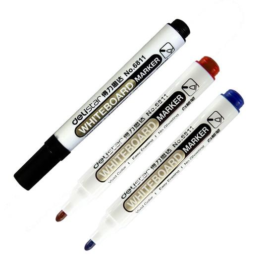 1 Uds. Rotuladores finos de pizarra blanca rojo y azul en color negro, rotuladores de borrado en seco, fácil de borrar, suministros escolares de oficina