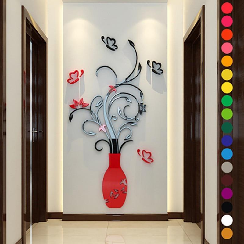 Belas DIY Arcylic Flor Vaso de Cristal Da Árvore De Parede Adesivos de Parede Moda 3D Decalque Home Room Decor Interior Adesivos de Parede