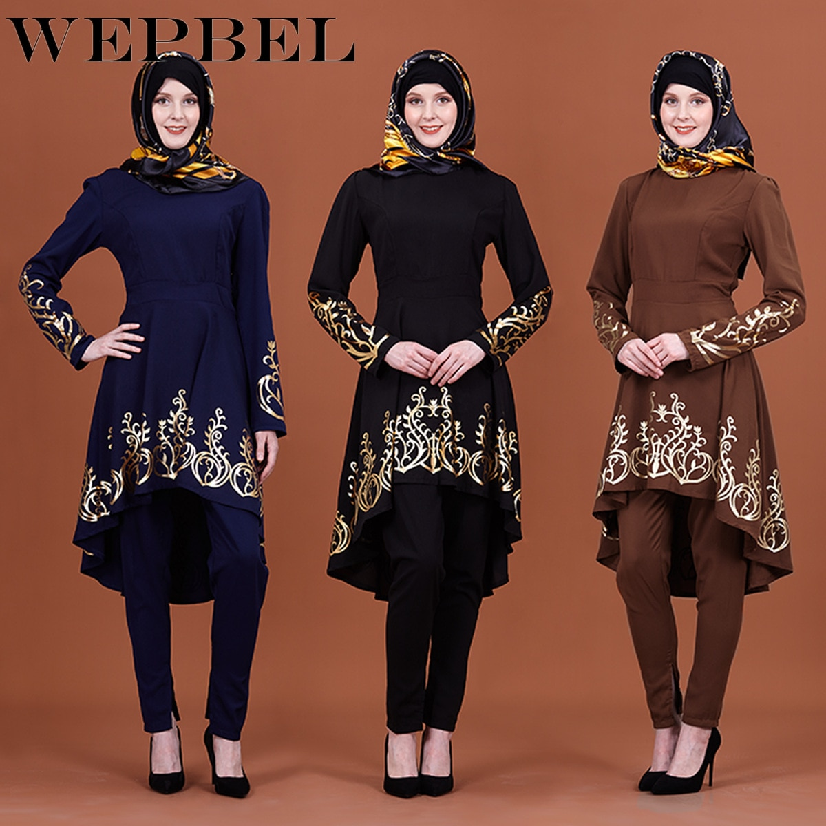 Impressão Dourada WEPBEL Muçulmano Roupas Ramadã Islâmico Abaya Oriente médio Cor Sólida das Mulheres
