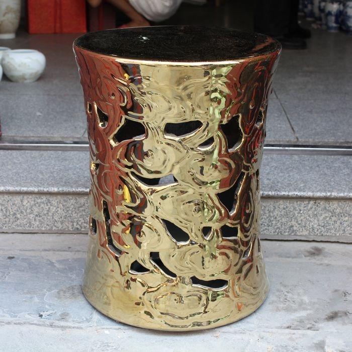Jingdezhen, taburete de jardín de porcelana antiguo de cerámica para interiores, taburete de jardín de cerámica redondo dorado pintado a mano