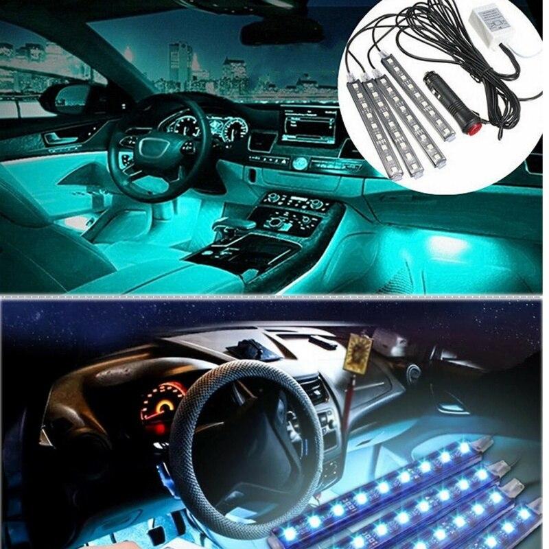 Decoración de coche, luz con Control remoto inalámbrico, Control de voz, piso Interior, tira de neón Led Rgb de pie