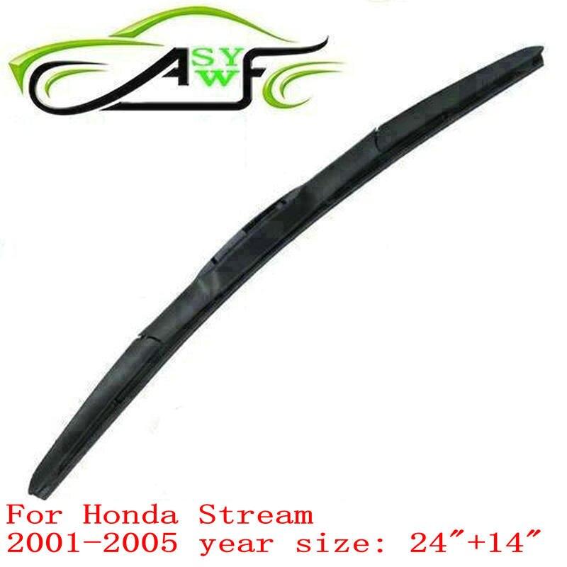 "Envío Gratis limpiaparabrisas para Honda Stream (2001-2005) brazo de limpiaparabrisas de 24 ""+ 14"" 2 piezas de goma natural"