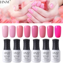 HNM 8ml Gel esmalte de uñas Rosa puro Color Soak Off UV LED laca para arte de uñas Semi permanente híbrido Gellak capa superior para base