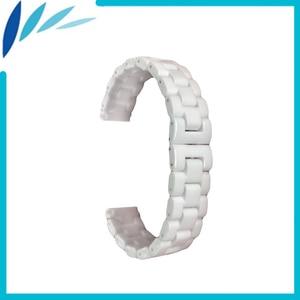 Ceramic Watch Band 14mm 16mm 18mm Stainless Steel Hidden Buckle Strap Wrist Loop Belt Bracelet Men Women + Tool + Spring Bar