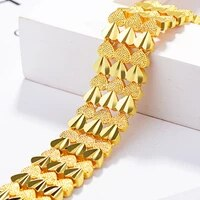 heart bracelet link chain yellow gold filled fashion womens mens wide bracelet gift